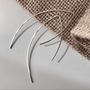 Sterling Silver Square Wire Threader Earrings